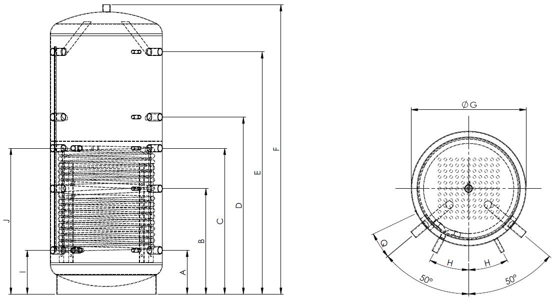 Eco2all-gelaagd-buffervat-met-1-warmtewisselaar-Specificaties