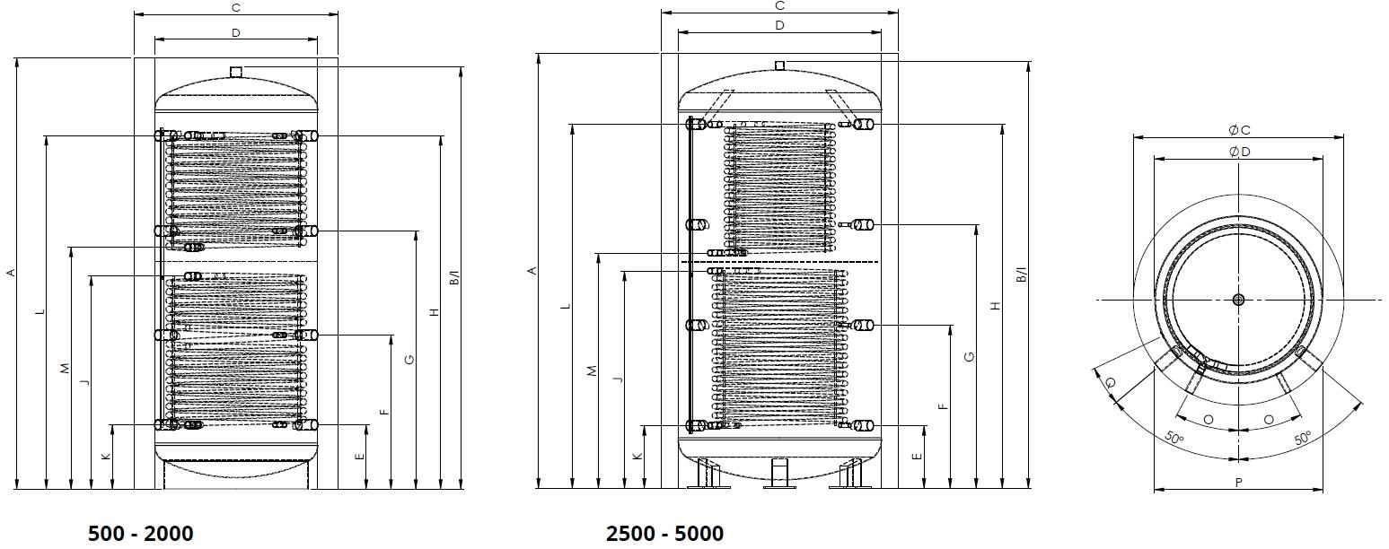 Eco2all-standaard-buffervat-met-2-warmtewisselaars-Specificaties